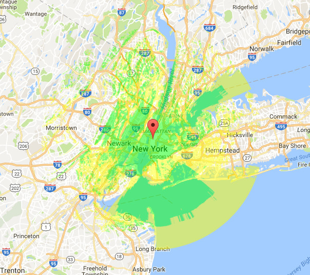 Coverage map courtesy of Radio Mobile Online