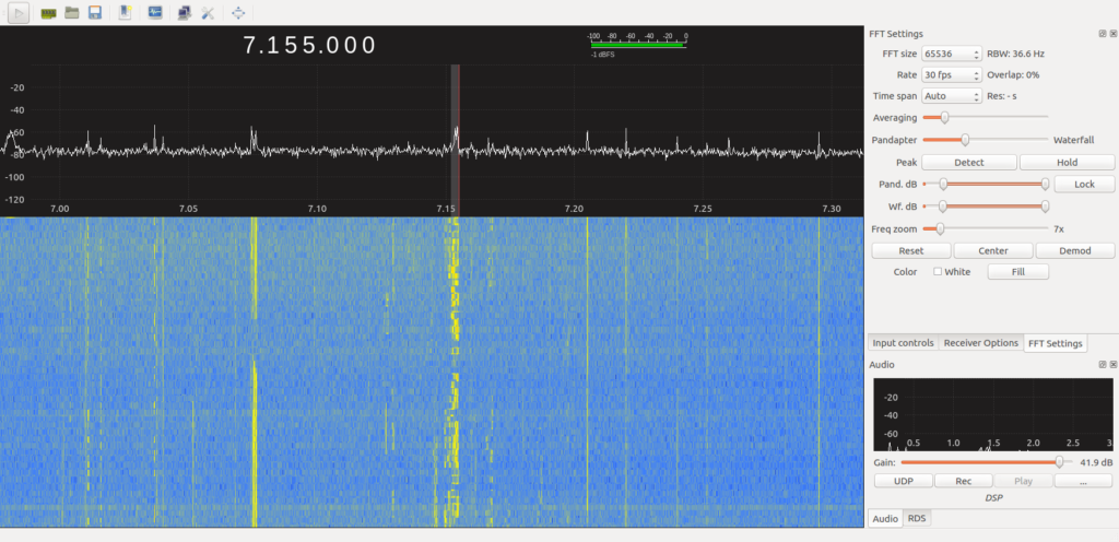 Entire 40 meter band on GQRX
