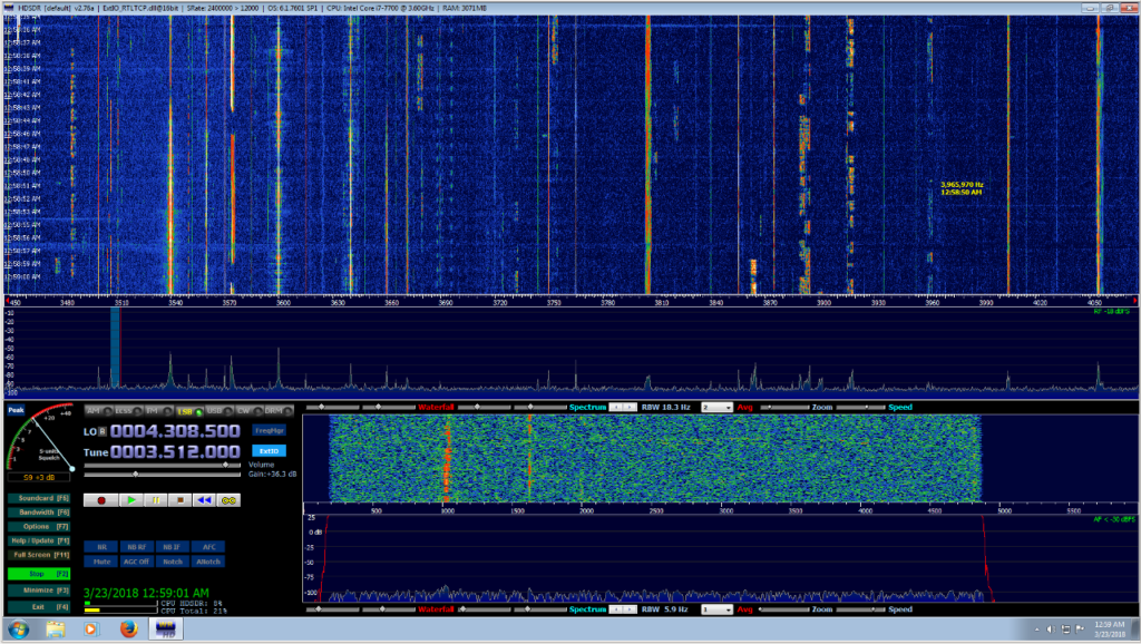 Entire 80 Meter Ham Band viewed in HDSDR