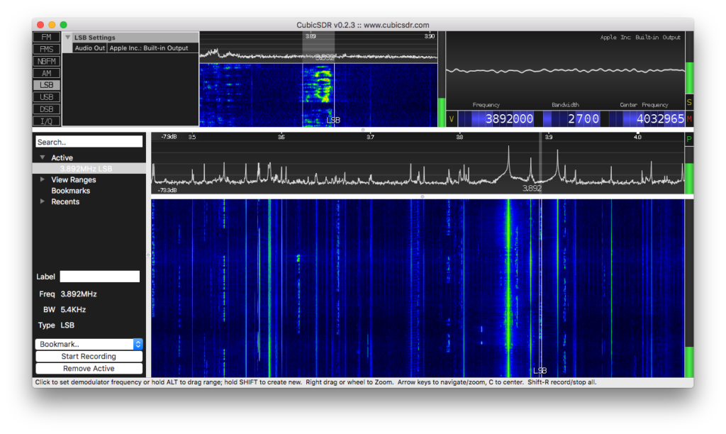 Entire 80 Meter Band viewed in CubicSDR on Mac OSX